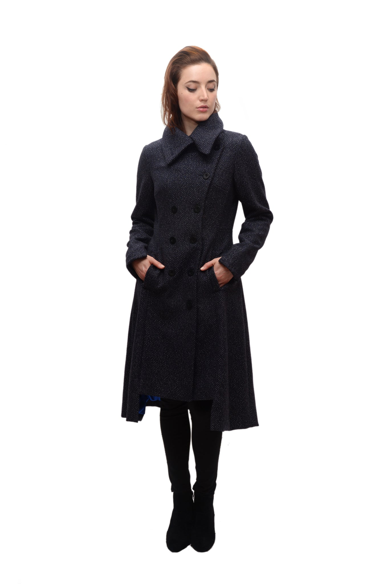 Military Button Up Coat/  Wool/Cashmere Blend