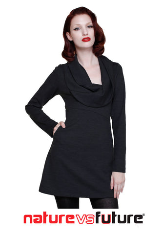 Cowl neck tunic dress/ Wool Jersey