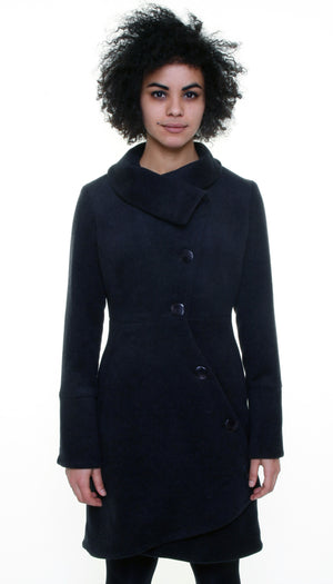 Swerve Coat in Wool/Cashmere / Dark Charcoal