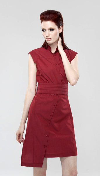 Classic Obi belt Shirtdress/ Red