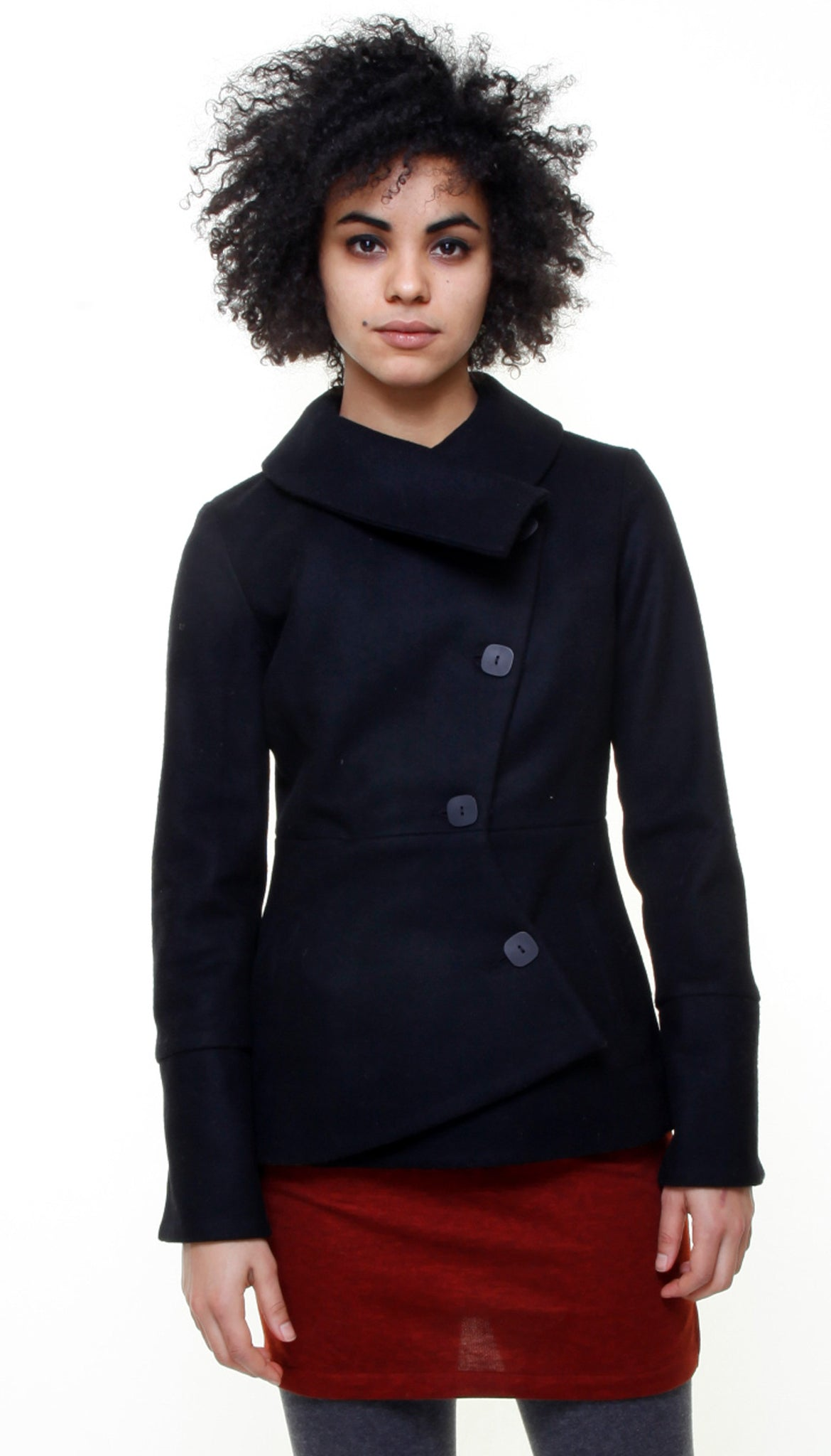 Short Swerve Coat/ Charcoal/Black Twill Texture