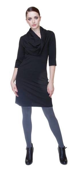 Cowl neck short sleeve tunic dress/ Viscose blend Ponte