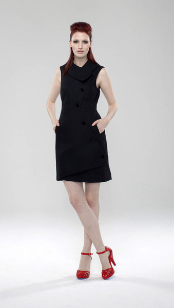 Swerve Vest Dress in Hemp Blend / Black