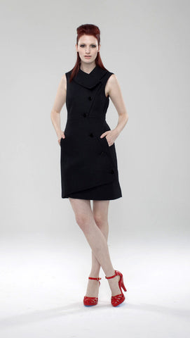 Swerve Vest Dress in Novelty Pique / Black