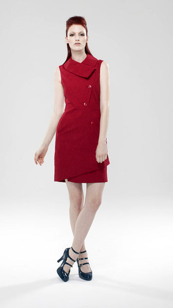 Swerve Jacket Vest Dress in Cotton Pique / Red