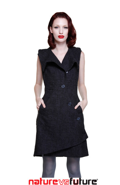 Swerve Jacket Vest Dress in Novelty Crinkle