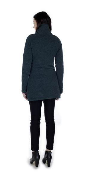 Classic Double Collar Ribbed Fleece Sweatshirt Jacket: Emerald