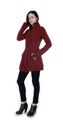 Classic Double Collar Ribbed Fleece Sweatshirt Jacket: Rusty Red