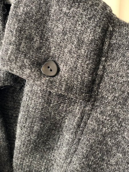 Classic Double collar wool knit sweater jacket/ Charcoal