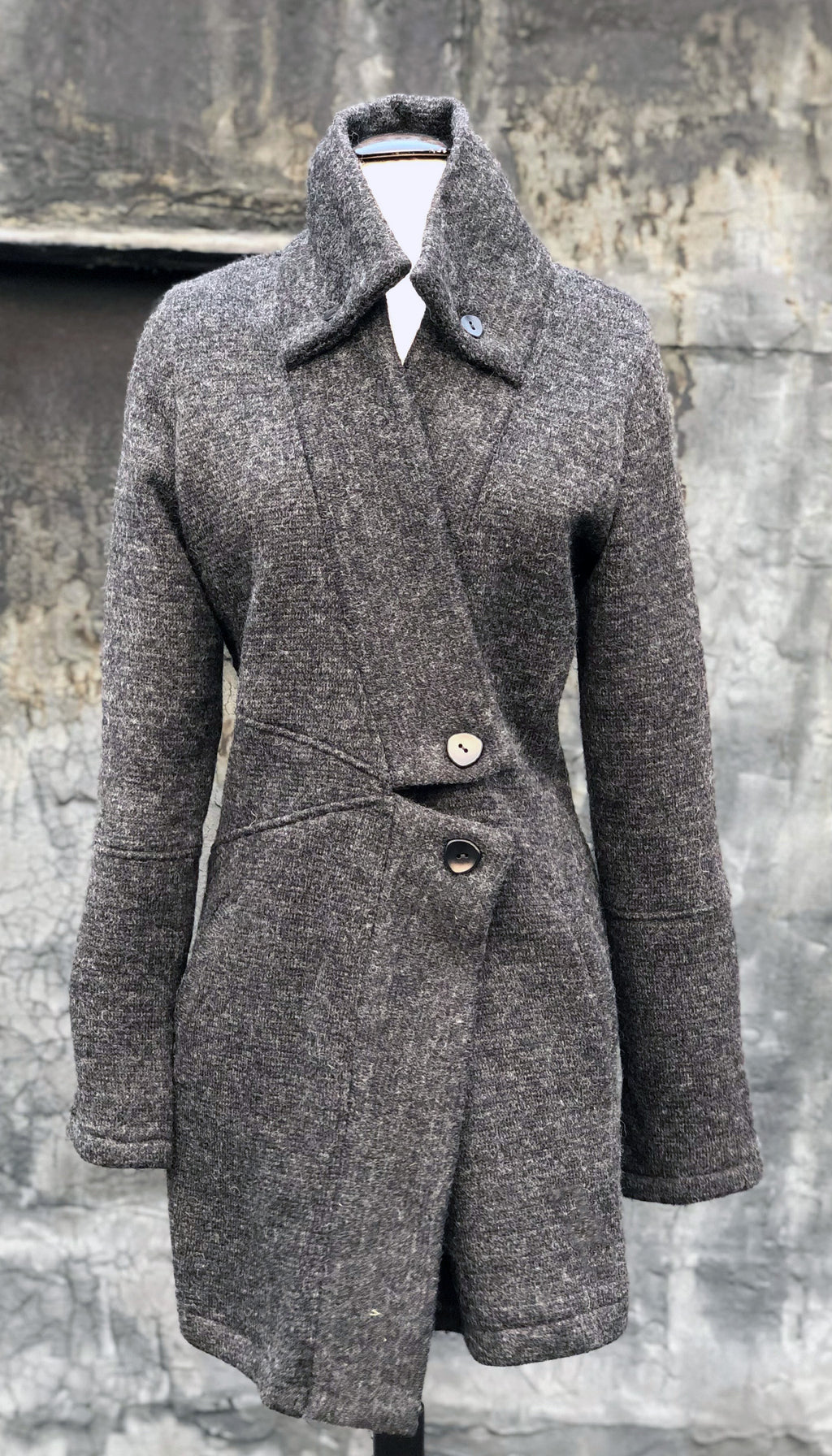 Classic Double collar wool knit sweater jacket: Charcoal