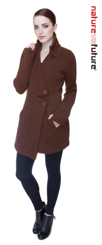 Classic Double Collar Ribbed Fleece Sweatshirt Jacket: Sienna Brown