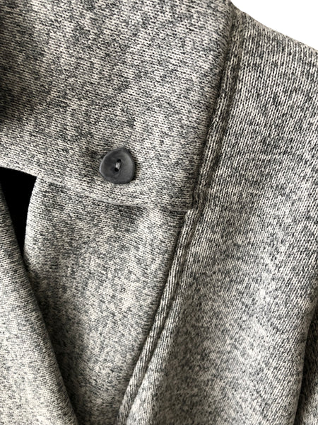 Classic Double Collar Ribbed Fleece Sweatshirt Jacket: Lt Heather Grey