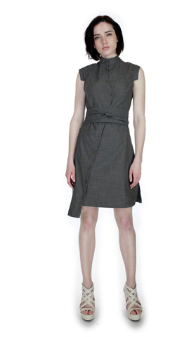 Classic Obi belt Shirtdress/ Black & White textured Cotton