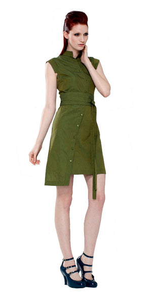 Classic Obi belt Shirtdress/ Green Serpentine