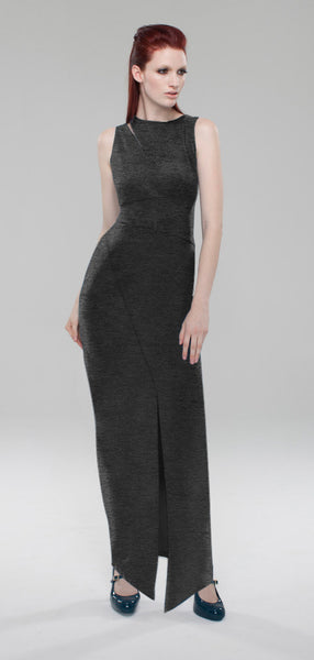 Split Shoulder Knit Tank Maxi Dress/ Charcoal