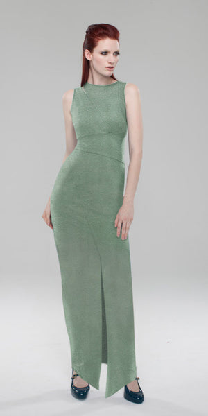 Split Shoulder Knit Tank Maxi Dress/ Moss