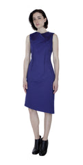 Classic Cut Out Dress w/ Reversible Obi Belt / Royal-ish Purple