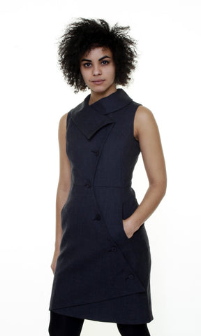 Swerve Vest Dress in Wool Crepe / Charcoal
