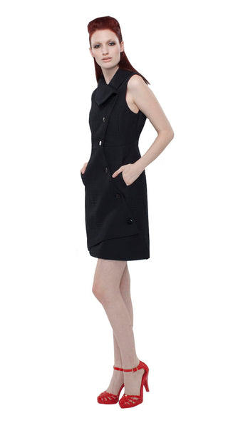 Swerve Vest Dress in Novelty Crinkle / Black