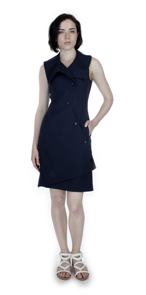 Swerve Vest Dress / Navy