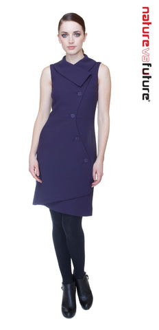 Swerve Vest Dress in Wool Crepe / Eggplant