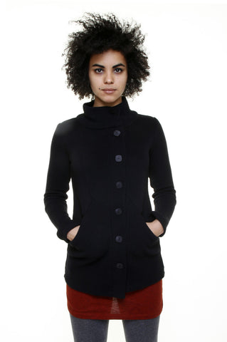 Cotton Heavy Rib Funnel Collar Sweater Cardigan/Black