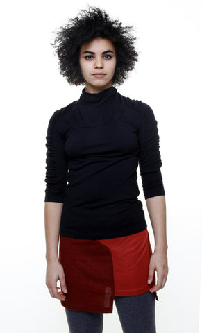 Mock shirred seam 3/4 sleeve top/Black wool