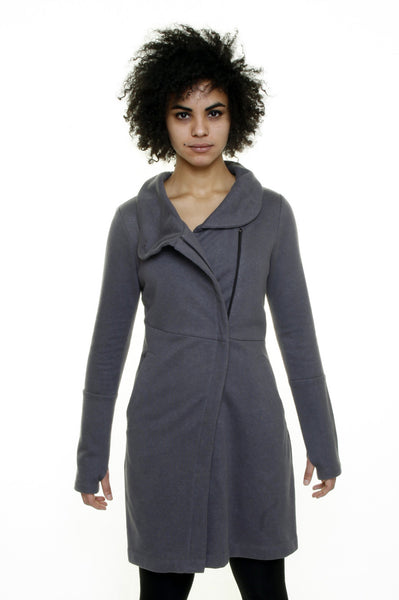 Funnel neck angled zip front tunic jacket/Hemp/ Grey