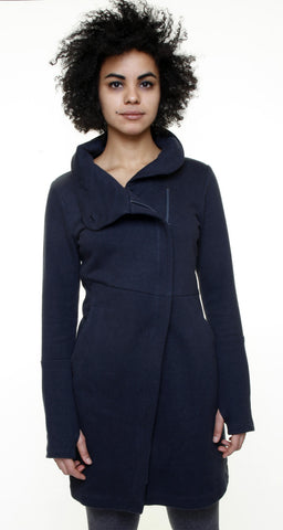 Funnel neck angled zip front tunic jacket/Hemp/ Midnte Blk