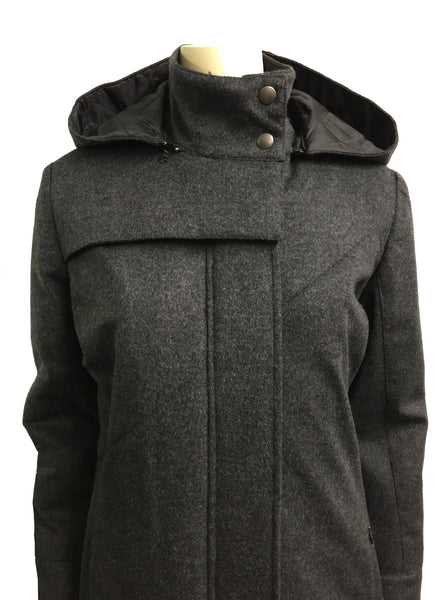 Hooded Mock Neck Zip Maxi Coat w/ Thinsulate Quilted Liner/ Charcoal Wool