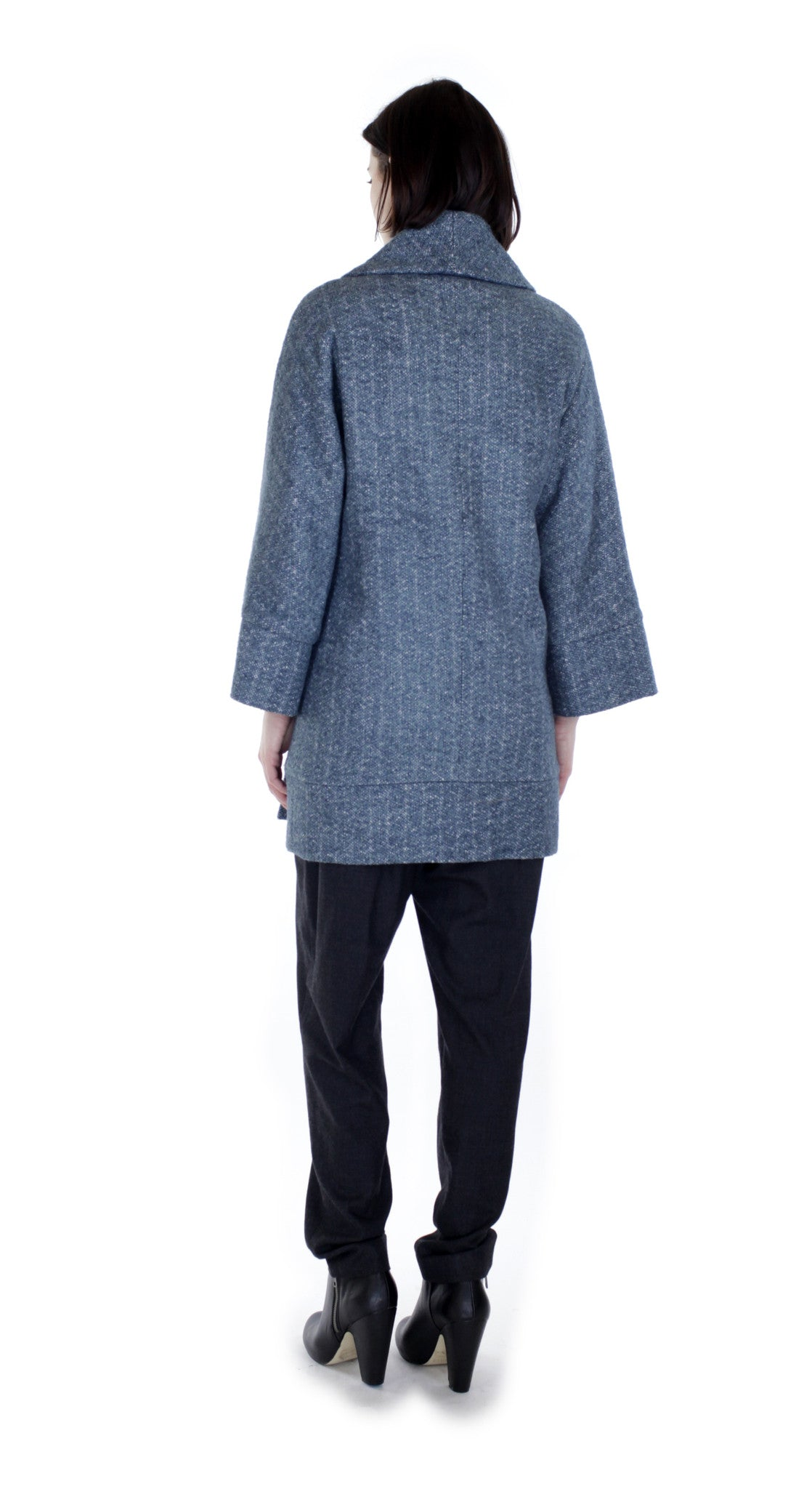 Novelty Textured Swing Coat/ Blue
