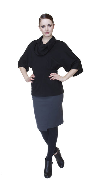 Dolman Sleeve Knit Top w/Detachable Sleeve Extension with Thumbholes