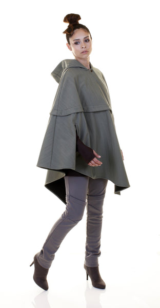 Asymmetrical Waterproof Cape in Black