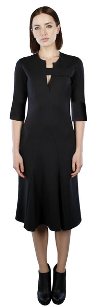 Split Neck Dress w/ 3/4 sleeve