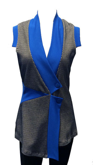 Pieced Vest/Tunic in Cobalt Combo