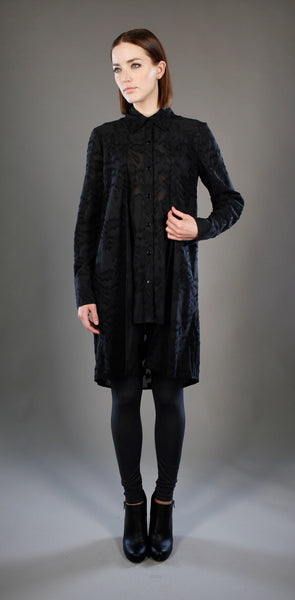 Button Front Double Layer Tunic Shirt