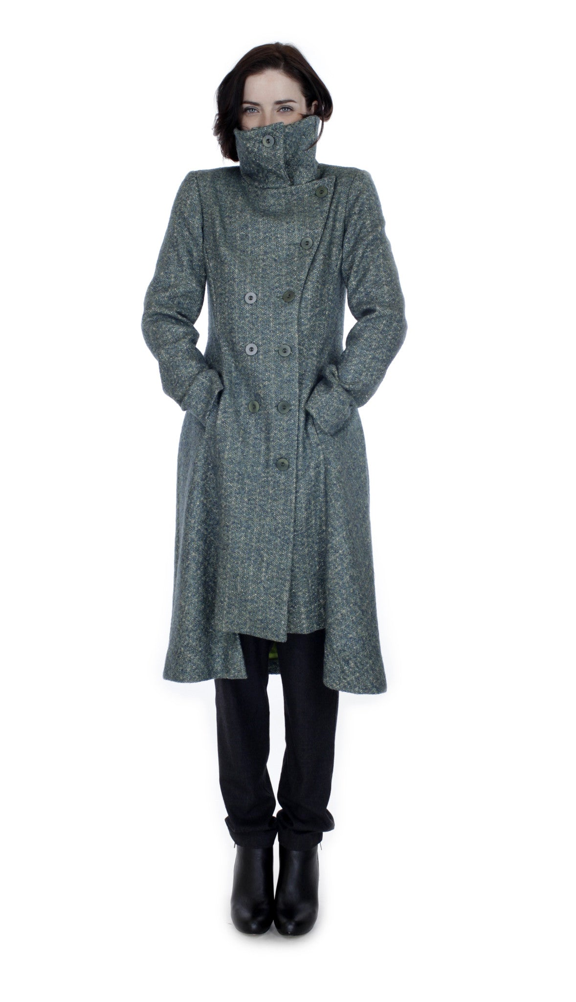 Military Button Up Coat/ Green texture