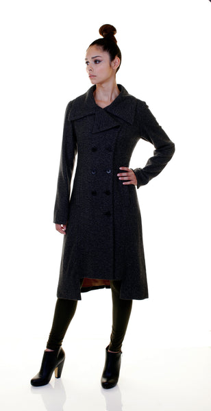 Military Button Up Coat/ Black