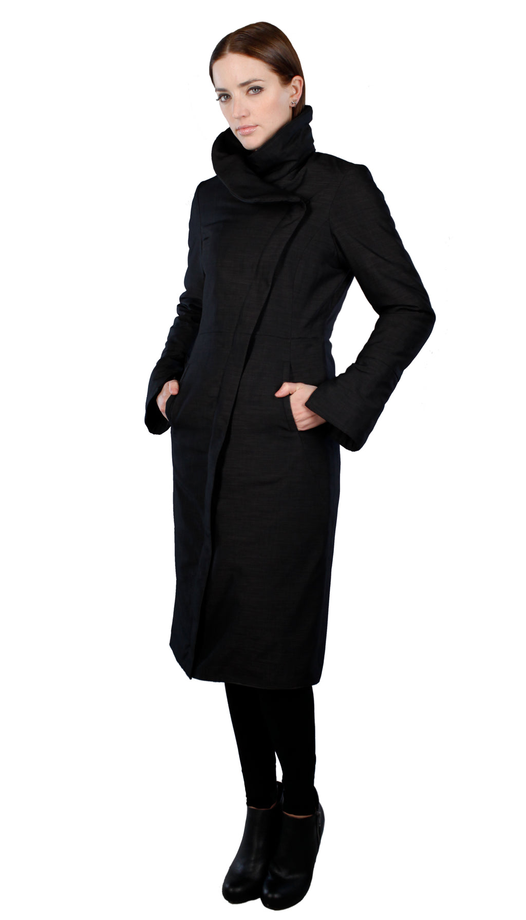 High Collar Thinsulated Zip Maxi Coat/ Black