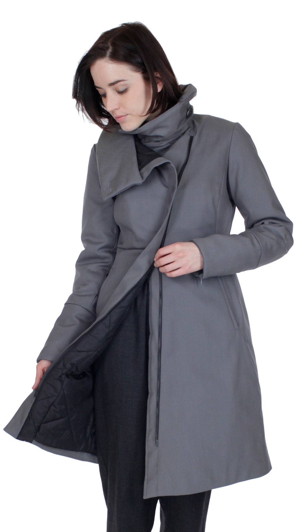 High Collar thinsulated zip coat: Grey Nylon