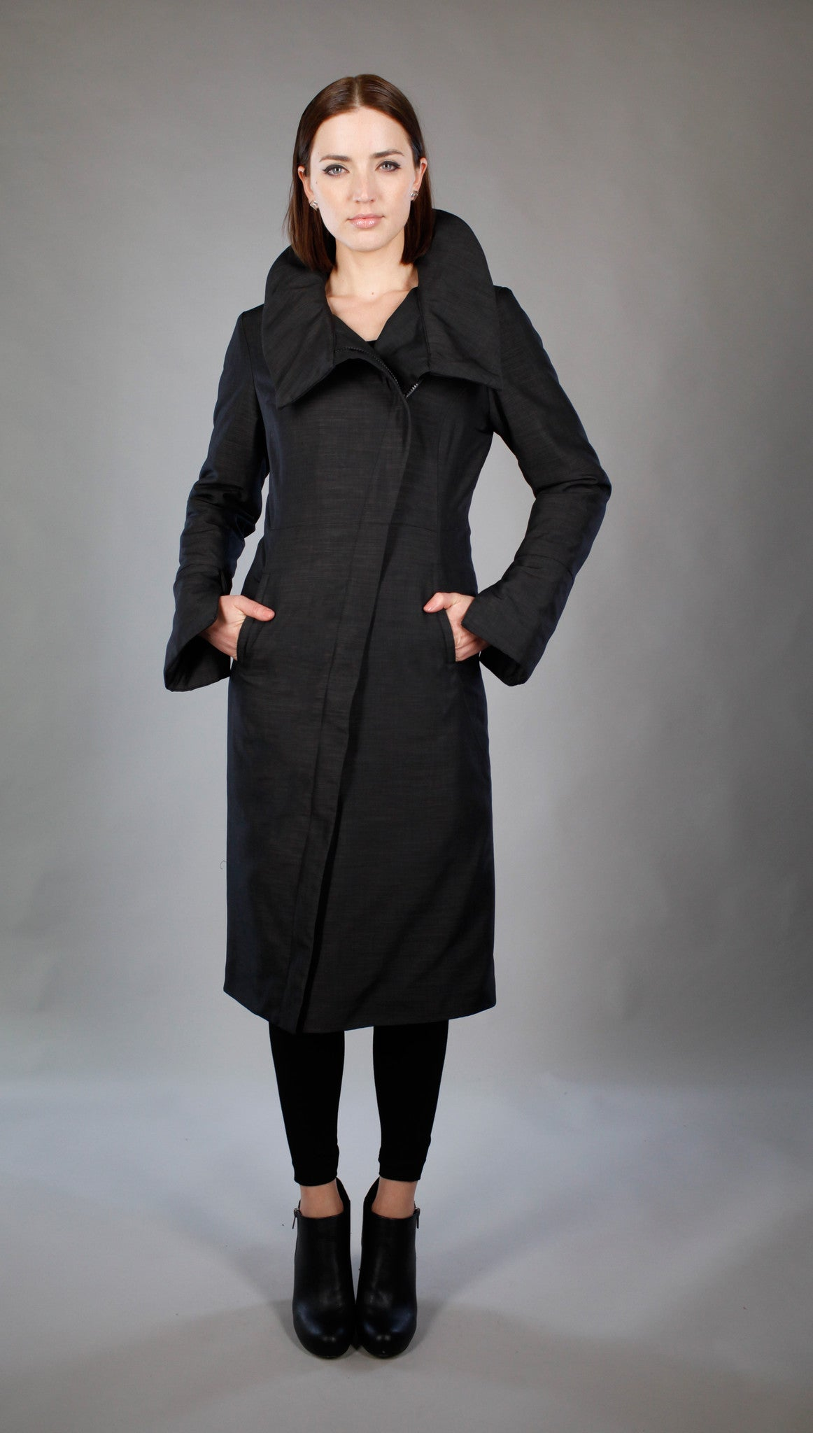 High Collar Angled Zip Maxi Coat w/ Thinsulate Quilted Liner