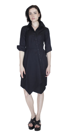 Asym Placket Double tier Shirtdress / Black