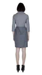 Asym Placket Double Tier Colorblock Shirtdress