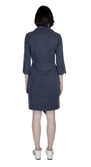 Asym Placket Double tier Shirtdress/ Purple