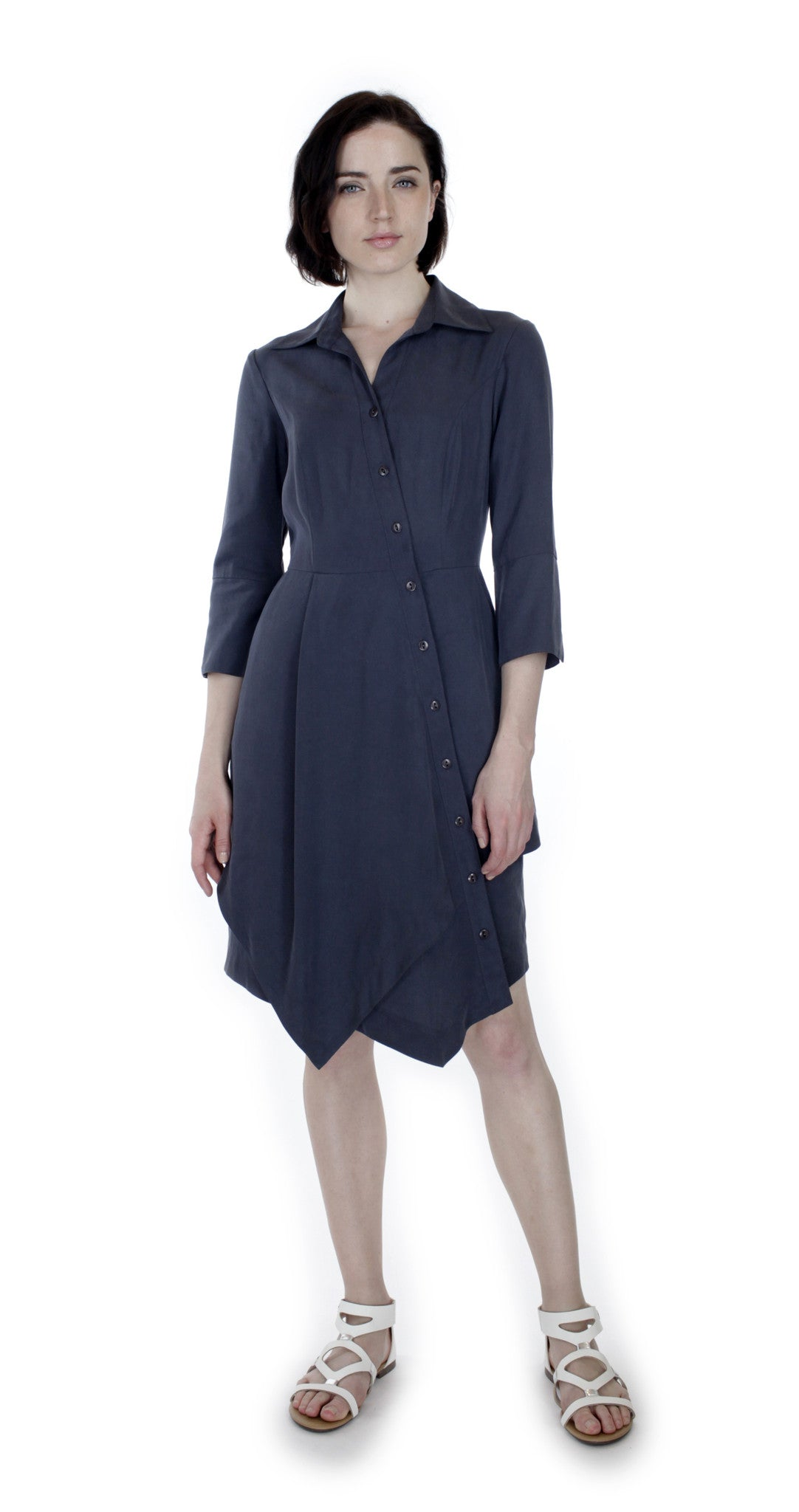 Asym Placket Double tier Shirtdress