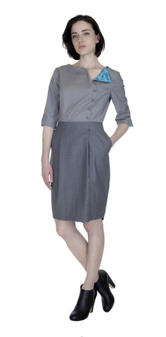 Boat Neck Asym Placket Colorblock Dress/ Grey Combo