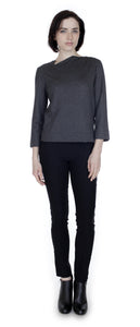 Split Angle Knit Top Charcoal