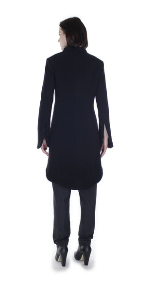 Solid Minimal Mock Coat/ Black