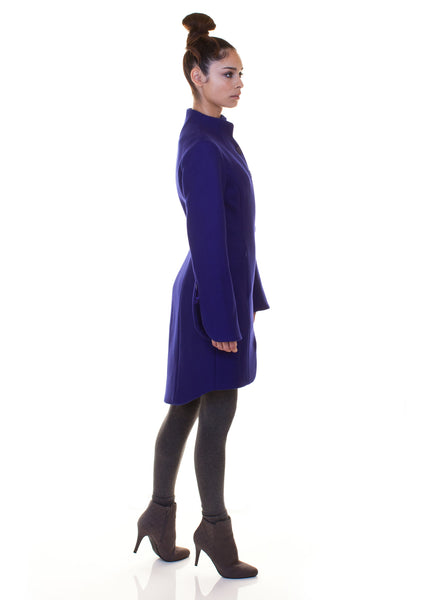 Solid Minimal Mock Coat/ Royal