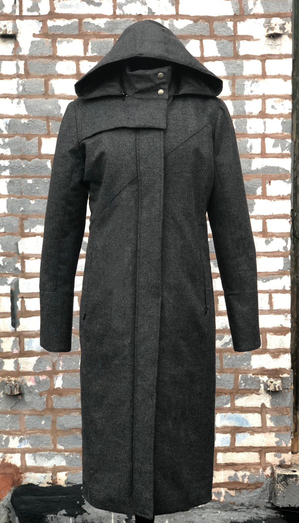 Hooded Mock Neck Zip Maxi Coat w/ Thinsulate Quilted Liner/ Charocal Storm Wool